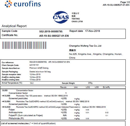Eurofins Test Report of Premium Milky Oolong